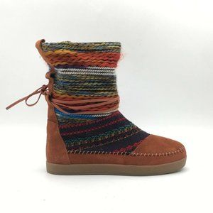 Toms Mens Boots Brown Tribal Lace Up Size 7 New